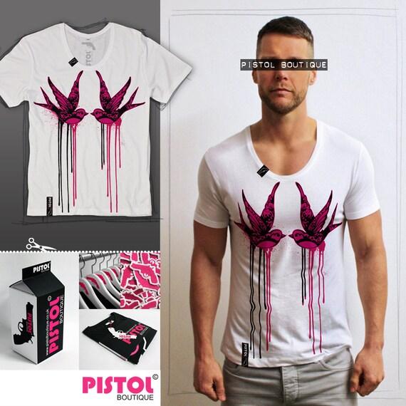 Mode oiseaux» de pistolet Boutique Mens «Tatouage Hirondelle oiseaux» Mode blanc Scoop cou Tshirt e3d234