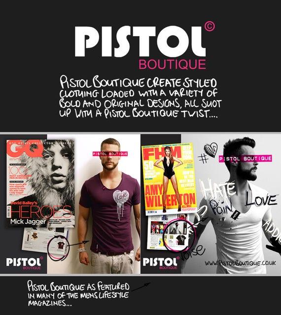 Pistolet Boutique Mens «Né mode pécheur» Croix cou déclaration mode «Né de tour de cou noir Scoop Tshirt 26f420