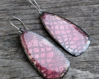 CLEARANCE: Pink Lace Enamel Dangle Earrings