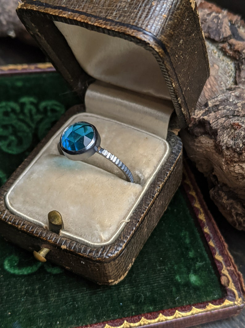 Bright Blue Round Roes Cut Quartz Textured Sterling Silver Ring