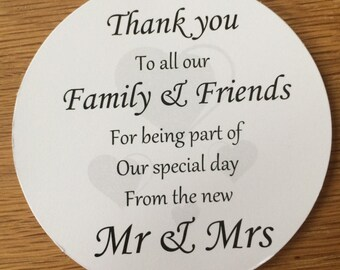 Thank You Coasters (Hearts)   on White Card KP025 BL/WT