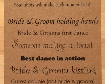 I Spy Wedding Camera Cards - Tall - Black on Brown Kraft Card KP032 BL/KP
