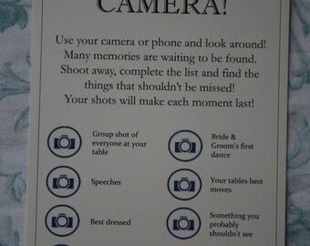 Camera Table Cards Navy Blue on Cream Card - KP008 NB/CR