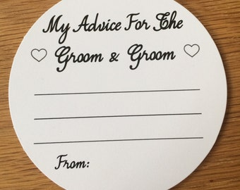 Wedding Advice Coasters Groom and Groom Advice on White Card KP023 BL/WT