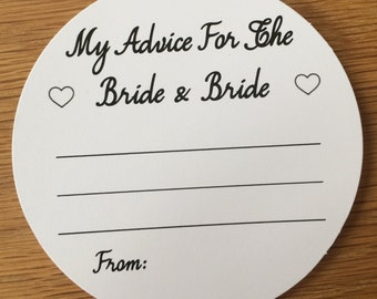 Wedding Advice Coasters Bride and Bride Advice on White Card KP022 BL/WT