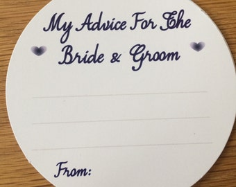 Wedding Advice Coasters Bride and Groom Advice - Navy Blue text  on White Card KP001 NB/WT