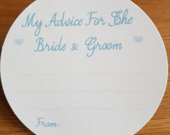 Wedding Advice Coasters Bride and Groom Advice - Aqua text  on White Card KP001 AQ/WT