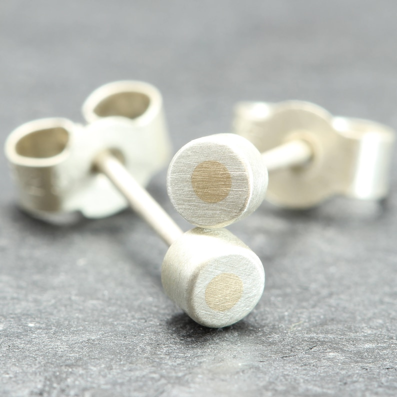 3.5mm Silver Studs with 1.5mm 9ct Yellow Gold Inlay