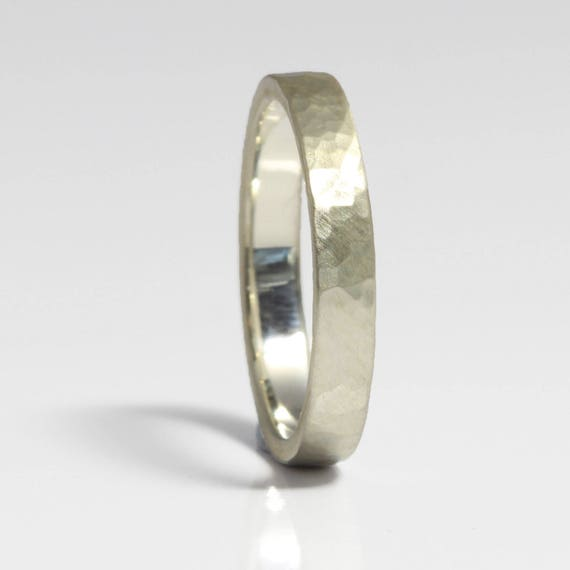 Delicate Wedding Bands  Planished Band  Hammered Rings  Hammered Bands  Ladies Silver Hammered Wedding Ring 3mm Wide  Made in Cornwall