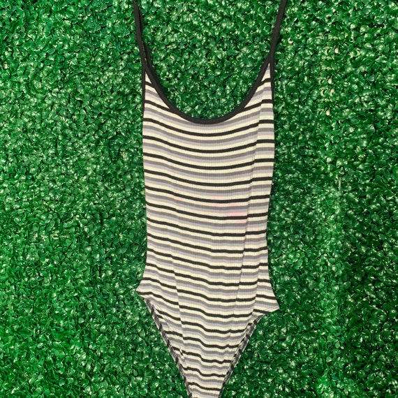 Striped Bodysuit Black Gray and White Bodysuit Sl… - image 2
