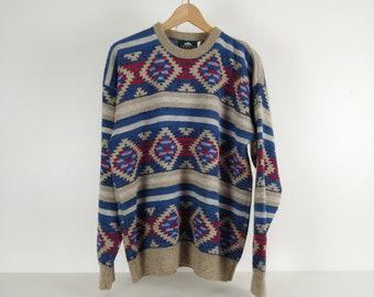 Vintage v neck 70\u2019s southwestern pattern sweater sz Small