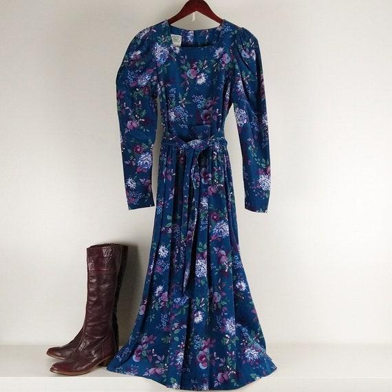 Laura Ashley Blue Corduroy Dress with pockets