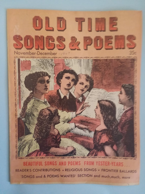 Vintage Old Time Songs And Poems 1967 Booklet