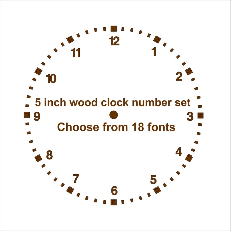 5 inch wood clock numbers set, choose from 18 fonts