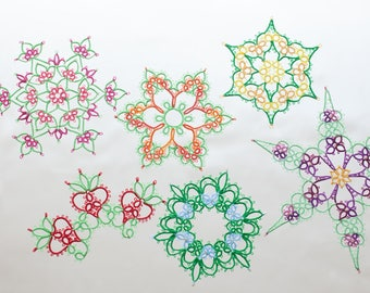 Flower or Snowflake tatting pattern collection PDF, with or without beads