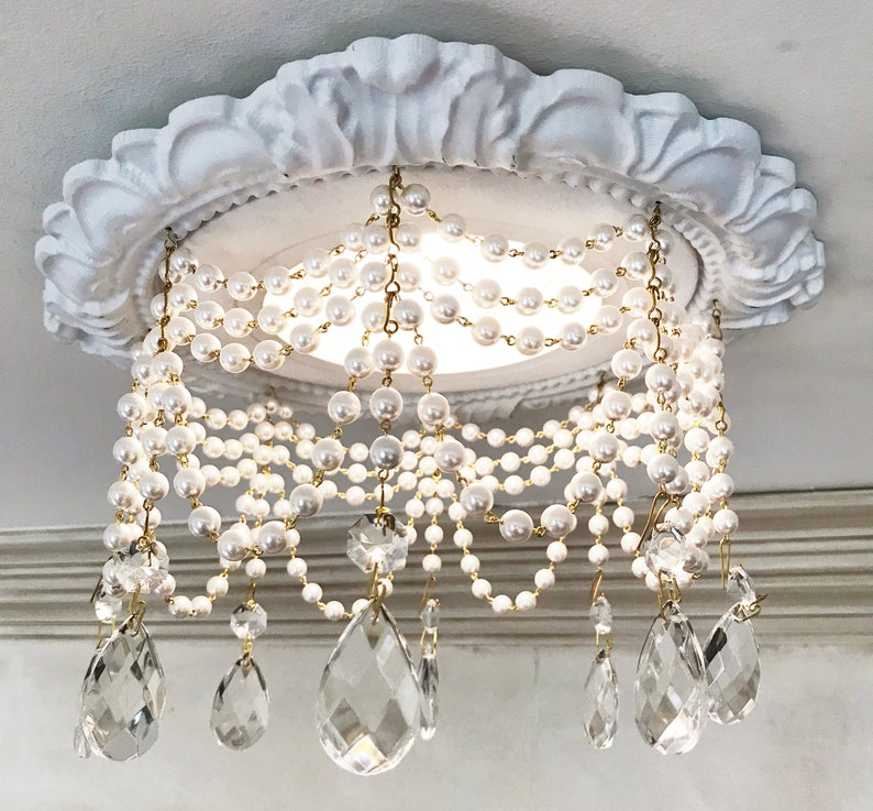 Decorative Recessed Light Trim With 4 Strands Of Pearls And 1 1 2 Tear Drop Crystals
