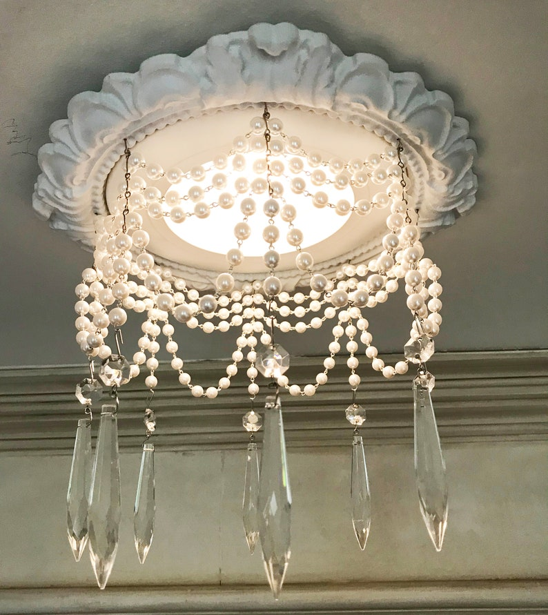 Decorative Recessed Light Trim With 4 Strands Of Pearls And 3 U Drop Crystals