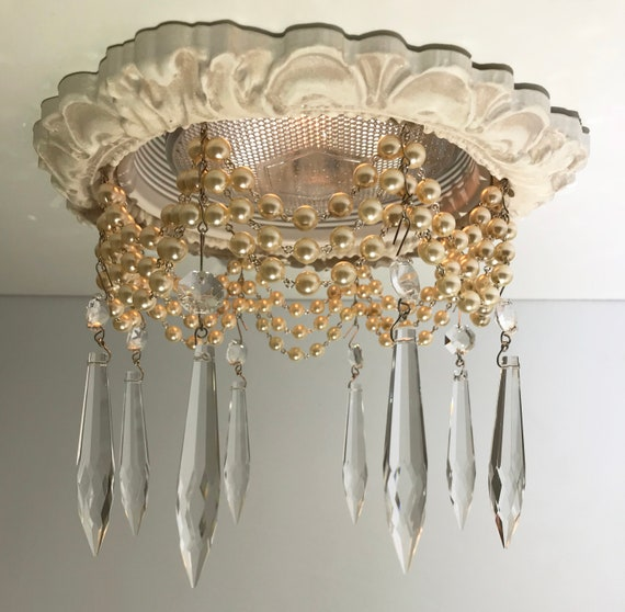 Decorative Recessed Light Trim With 3 Strands Of Cream Pearls And 3 U Drop Crystals