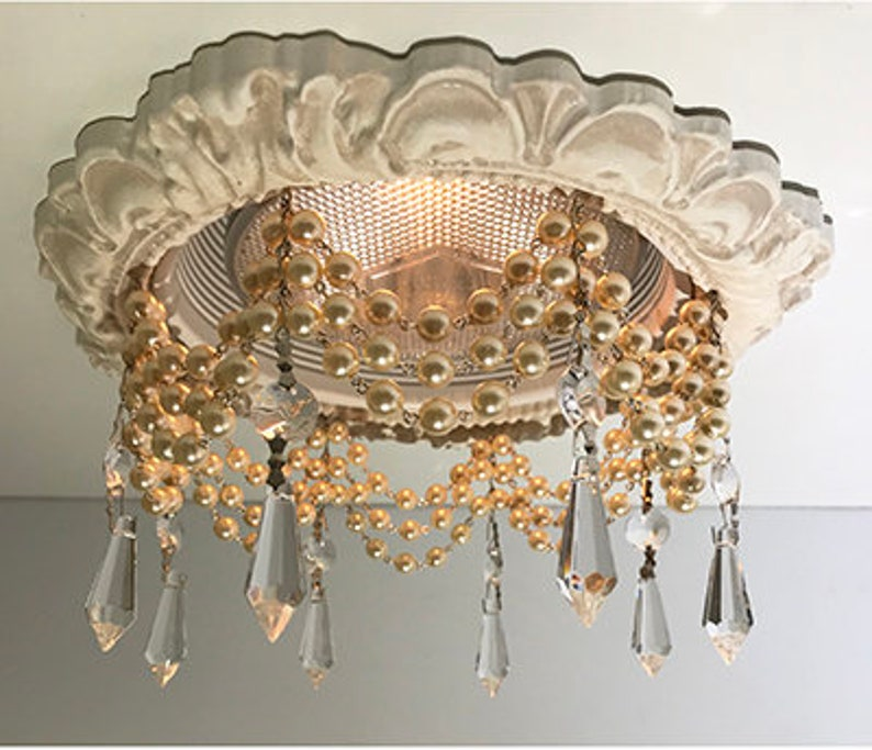 Decorative Recessed Light Trim With 3 Strands Of Pearl Chain In Cream And 1 1 2 U Drop Crystals