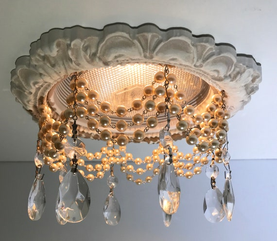 Decorative Recessed Light Trim With 3 Strands Of Cream Pearl Chain And 1 1 2 Clear Tear Drop Crystals