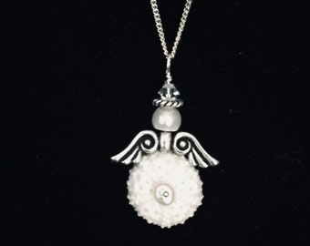 Sea urchin angel necklace/wedding necklace/bridal party jewelry / Beach wedding/shell nevklace