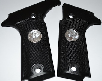 b4e4e21fe Colt Double Eagle pistol grips black plastic with real mercury dime inserts