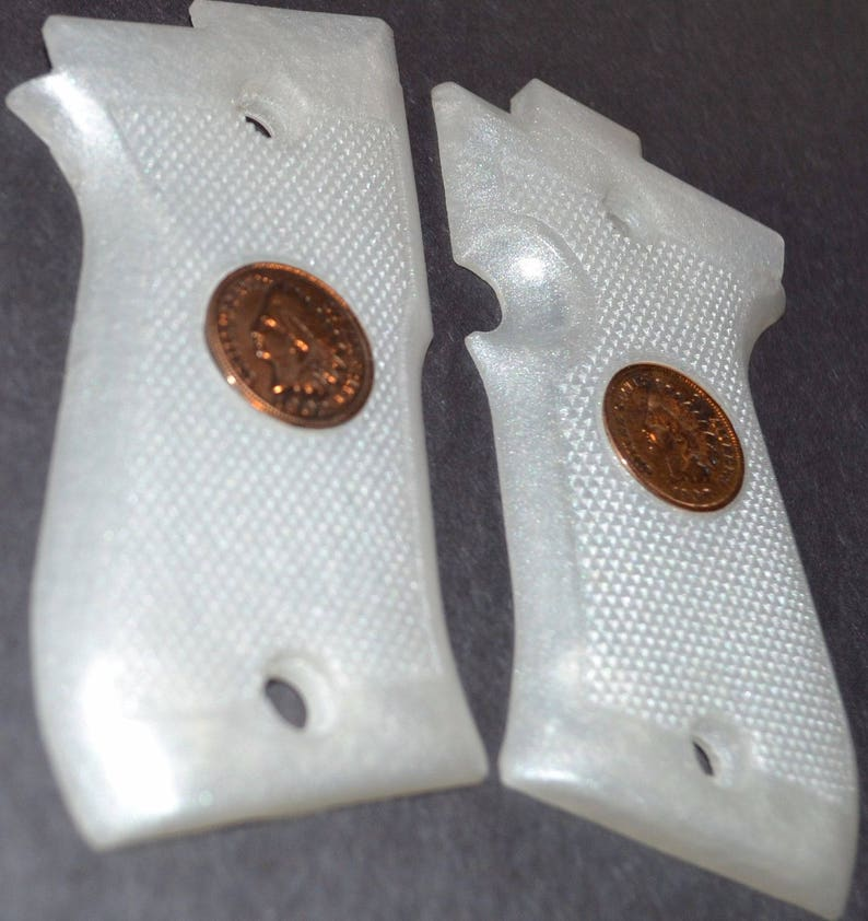 Beretta 85 BB pistol pearl white with real indian head pennies