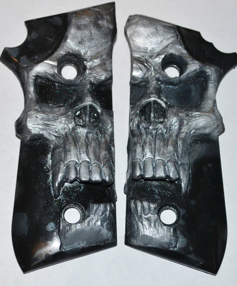 Taurus PT92, PT99, PT101 pistol grips pearl skull on black plastic for  decocker