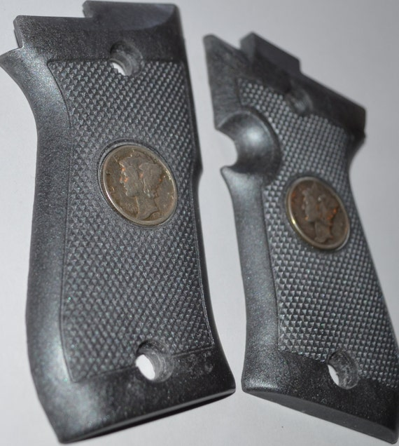 Beretta 85 BB pistol grips silver plastic with indian real mercury dimes