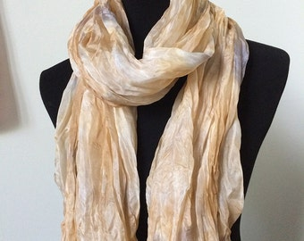 """Prophetic - Silk Scarf - Gifts for Women - Dyed Silk - Christian Gifts - Crinkle Silk 35x72"""" called Holy Feathers"""