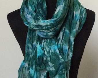 """Prophetic - Silk Scarf - Gifts for Women - Dyed Silk - Christian Gifts - Crinkle Silk 35x72"""" named Increase"""