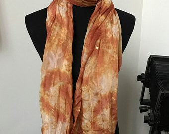"""Prophetic - Silk Scarf - Gifts for Women - Dyed Silk - Christian Gifts - Crinkle Silk 35x72"""" called Provided For"""