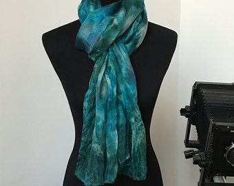 """Prophetic - Silk Scarf - Gifts for Women - Dyed Silk - Christian Gifts - Crinkle Silk 35x72"""" called El Aman (Faithful God)"""