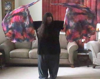 Prophetic - Silk Flag - Worship Flag - Praise Dance - Dyed Silk - Swing Flag - Regular Swing Flag Pair called Mandate the Atmosphere