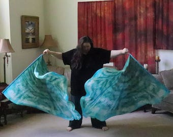 Prophetic - Silk Flag - Worship Flag - Praise Dance - Dyed Silk - Prophetically Hand-Dyed Large Spin Wings called Increase