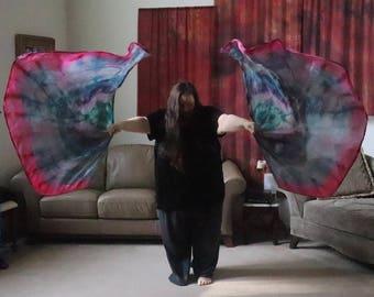 Prophetic - Silk Flag - Worship Flag - Praise Dance - Dyed Silk - Swing Flag - Regular Swing Wing Pair called Provision and Favor