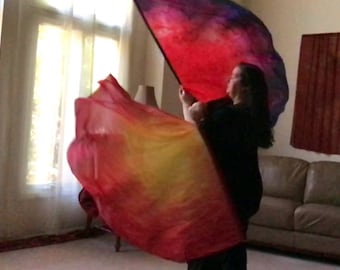 Prophetic - Silk Flag - Worship Flag - Praise Dance - Dyed Silk - Prophetically Hand-Dyed Regular Spin Wings called Covenant Fire
