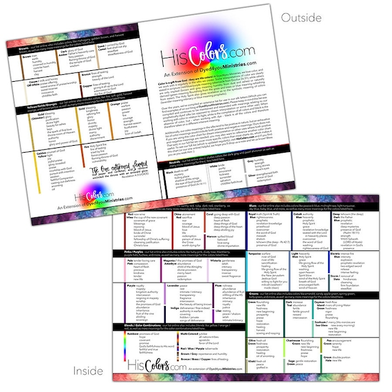 Color Meanings Chart Colour Meanings Chart Biblical Color Etsy