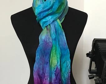 Prophetic - Silk Scarf - Gifts for Women - Dyed Silk - Christian Gifts - Crinkle Silk called Lush Growth (Flourisher)