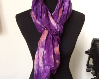 """Prophetic - Silk Scarf - Gifts for Women - Dyed Silk - Christian Gifts - Crinkle Silk 35x72"""" called Perfect Love"""