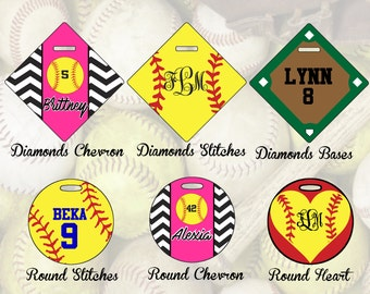 Personalized Softball Bag Tags, Bag Tag, Softball Gift, Custom Bag Tag, Softball Bag Tag
