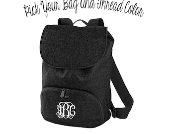 9fb05a5d0a63 Embroidered Monogram Glitter Backpack