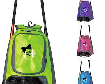 Embroidered Monogram Bat Bag, Baseball Bag, Softball Gift, Softball Bag,baseball gift, Bat bag, Softball Bat Bag, Softball, Baseball, Bow