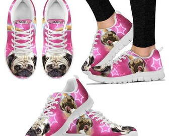 705f836e1a8 Pug Dog On Pink Print Running Shoes For Women