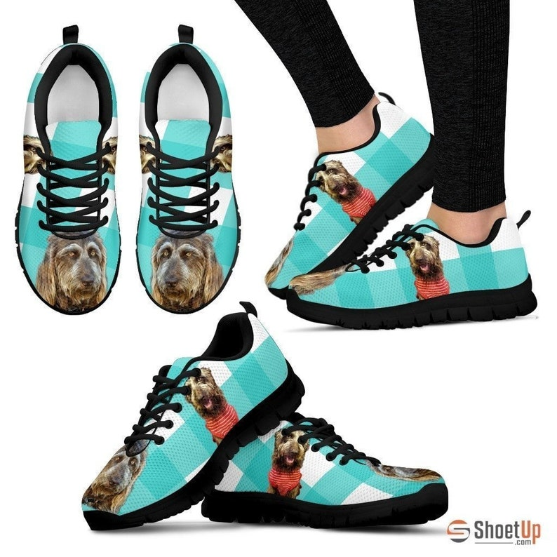 White Free Shipping Brown Labradoodle Print Sneakers For Women