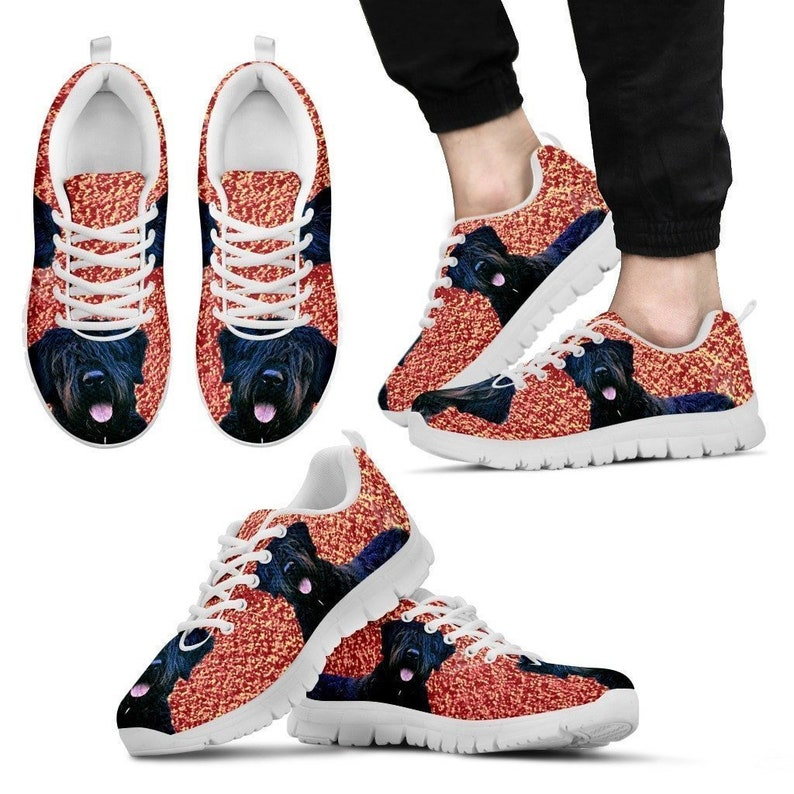 Bouvier De Flandres Dog Print BlackWhite Running Shoes For Men-Free Shipping Limited Edition