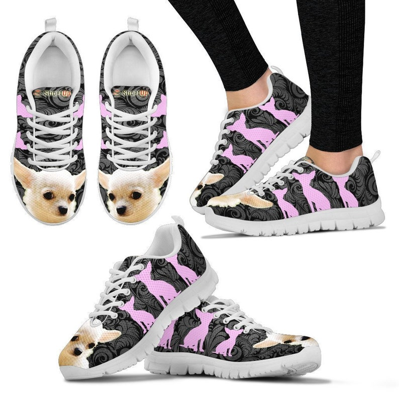 00fc3d5039930 Chihuahua On Black-Women's Running Shoes-Free Shipping