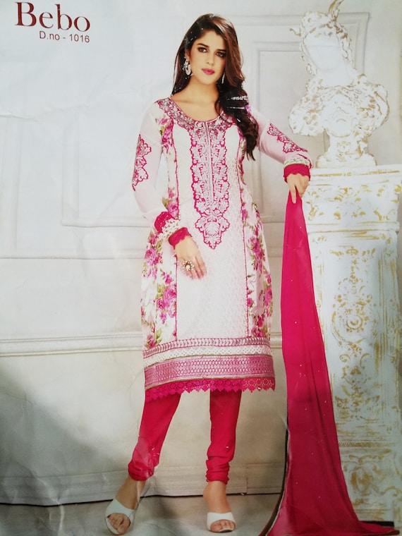 White pink Salwar Kameez Bollywood Indian Dress Pakistan Dress Anarkali Suit Indian Bollywood Fashion Designer Salwar Kameez Traditional