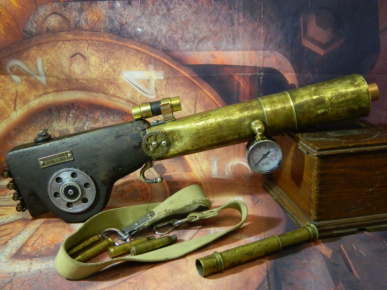 Rifle steampunk  MACHINE GUNThe size of the rifle is 70 cm x 12 cm.