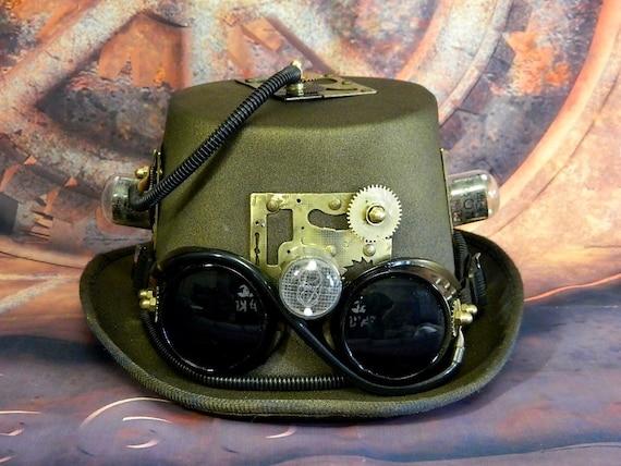 Zylinder Hut Steampunk und Brille
